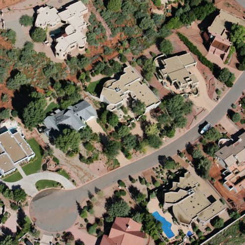 aerial photograph of back o' beyond subdivision
