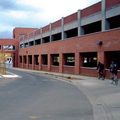 parking lot on the northern arizona university campus in flagstaff